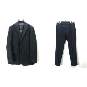 ブラックレーベル クレストブリッジ シングルスーツ 上下セット セットアップ シルク 三陽商会 Mサイズ ブラック BLACK LABEL CRESTBRIDGE スーツ A4812◆ sunstep