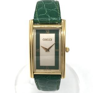 オールドグッチ 2600M 腕時計 ウォッチ クォーツ 長方形フェイス クロコ革バンド ヴィンテージ 男女兼用  ゴールド OLD GUCCI 時計 B6888◆|sunstep