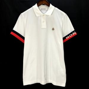 モンクレール 半袖 ポロシャツ ワンポイント 鹿の子 ロゴ パッチ 美品 メンズ Sサイズ ホワイト MONCLER トップス A6366◆ sunstep