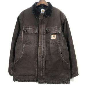 カーハート カバーオール ワークジャケット 古着 革タグ メンズ C26 Lサイズ相当 ブラウン Carhartt アウター A6925◆S|sunstep