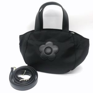 マリークワント ナイロンデイジーバッグ トートバッグ ショルダーバッグ 2WAY ミニサイズ 美品 レディース ブラック MARY QUANT 鞄 B7069◆S|sunstep