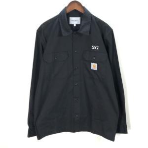 カーハート MASTER SHIRT 21SS ロングスリーブ ワークシャツ ワーク プログレス スクエアロゴ 美品 メンズ Lサイズ ブラック carhartt WIP トップス A7126◆|sunstep
