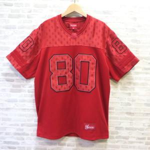シュプリーム 18SS モノグラム ジャージ Tシャツ 赤 Monogram Football Jersey フットボール アメフト レッド SUPREME トップス W4866☆|sunstep