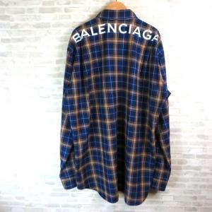 バレンシアガ 508465 TYB16 バックロゴチェックシャツ 美品 18SS オーバーサイズ 長袖 39サイズ ブルー系 BALENCIAGA トップス W4742☆ sunstep