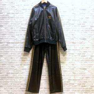 アディダス ラムレザートラックセットアップ 08年 限定 トラックスーツ ゴールド 金刺繍 Sサイズ ブラック adidas ジャージ上下 W5471-4☆ sunstep