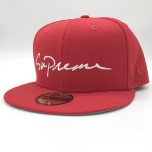 シュプリーム Classic Script Logo New Era Cap ニューエラ キャップ 18AW メンズ サイズ 7 1/2 59.6cm レッド SUPREME 帽子 E1536★|sunstep