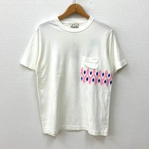 ビーアンキシャス Tシャツ 半袖 白 ダイヤ柄 未使用 送料220円 タグ付き メンズ Sサイズ ホワイト beaxious 衣類 N14965-T4●|sunstep