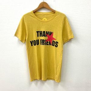 M(エム) Tシャツ 半袖 カットソー THANK YOU FRIENDS 送料220円 ロゴTシャツ スター 星 Sサイズ メンズ イエロー トップス N14977-T4●|sunstep