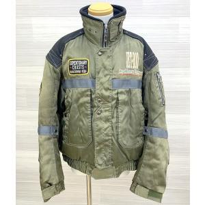 ヤマハ RY435 JET-ROD ウィンタージャケット ライディングジャケット クリーニング済 ミリタリー系 メンズ LLサイズ カーキ YAMAHA バイクウェア N15451J●|sunstep