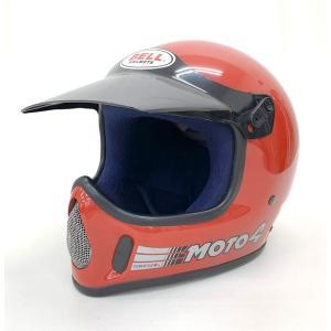 BELL MOTO4 ヘルメット オフロード 純正バイザー付 除菌消臭済み レア 希少 ビンテージ サイズ7 1/4 58cm レッド 赤 ベルモト バイク用品 15579H●|sunstep
