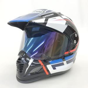 Arai TOUR CROSS3 DETOUR オフロードヘルメット 内装洗濯 除菌消臭済 モトクロス ミラーシールド TXホルダー付  Mサイズ 57-58cm ブルー系 アライ N15627H●|sunstep