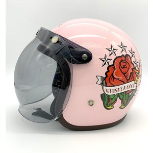 SHM OLD SCHOOL ジェットヘルメット 美品 ROCK Whisky a GO GO TATTOO GIRLタトゥーガール 限定品 SMサイズ 56-57cm ピンク 立花 バイク用品 N15717H●|sunstep