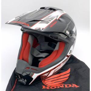 ホンダ XP913 新品同様 オフロードヘルメット 除菌消臭済み モトクロス 廃盤 長期保管品  Lサイズ 59-60m 黒 赤 HONDA バイク用品 N15741H●|sunstep