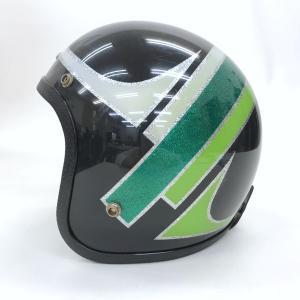 arctic cat ジェットヘルメット ヴィンテージ ビンテージ ラメ 70年代 男女兼用 Mサイズ ブラック グリーン アークティックキャット バイク用品 観賞用15975H●|sunstep