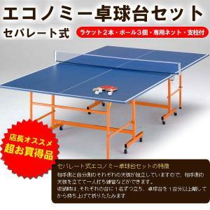 セパレート式卓球台エコノミーセット(卓球台・ラケット2本・ボール3個・専用ネット・支柱付き) ひとまわり小さい家庭用サイズ|sunward