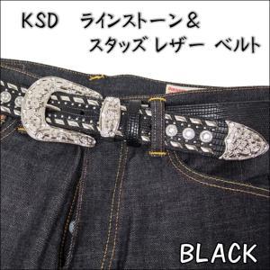 KSD ラインストーン&スタッズ メンズ レザーベルト 6215|sunwear