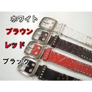 ベルト メンズ 革  KSD スタッズ レザー 牛革 ベルト5937 バックル交換可能!|sunwear