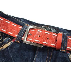 ベルト メンズ レザー 牛革素材 ステッチ&カービング ベルト 6066|sunwear