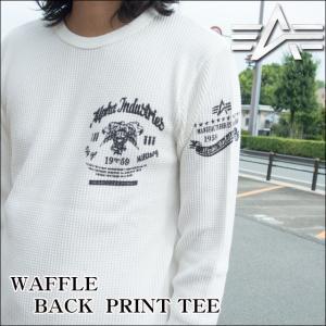 アルファインダストリーズ ALPHA INDUSTRIES Tシャツ メンズ 長袖ワッフルプリントTシャツ ロンT TC1224|sunwear