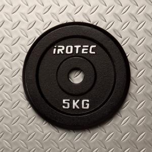 バーベル プレート IROTEC(アイロテック)アイアンプレート5KG /ダンベル ベンチプレス 筋トレ トレーニング器具 鉄アレイ 健康器具|super-sports