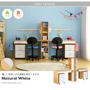 学習机 ツイン 白 勉強机 学習デスク twin desk(ツインデスク) 7色対応|superkagu|03