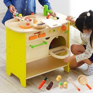 ままごとキッチン 森のアイランドキッチン 調理7点セットプレゼント中 木製 知育玩具 3歳から superkagu
