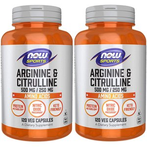 ナウスポーツ アルギニン500mg&シトルリン250mg 120粒 2本セット NOW SPORTS L-Arginine 500mg & Citrulline 250mg 120CAP 2set NOW FOODS|supla