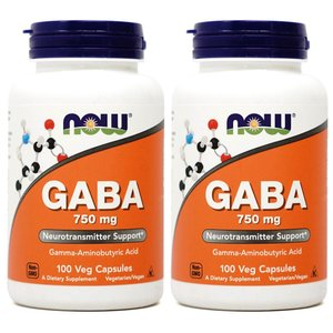 ナウフーズ ギャバ 750 mg 100錠 2本セット NOW FOODS GABA 750mg、100 veggie caps 2set|supla