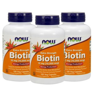 ナウフーズ ビオチン 10mg 120錠 3本セット NOW FOODS Biotin 10mg 120Veg Capsules 3set|supla