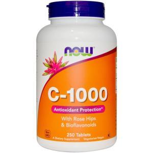 ナウフーズ C-1000 with ローズヒップ バイオフラボノイド 250錠 NOW FOODS C-1000 With Rose Hips and Bioflavonoids 250CAP|supla