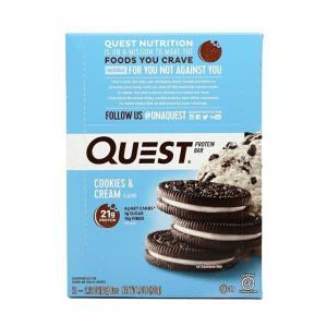 クエストバー、プロテインバー、クッキー&クリーム12バー  QUEST NUTRITION  Quest Bar, Protein Bar, Cookies & Cream   12 Bars|supla