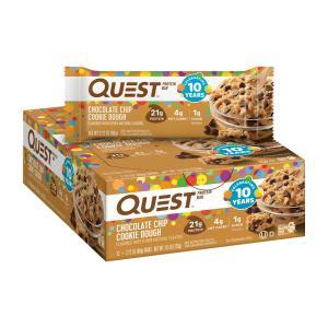クエストバー、プロテインバーチョコレートチップクッキー生地12本入り  QUEST NUTRITION  QuestBar, Protein Bar, Chocolate Chip Cookie Dough   12 Bars|supla