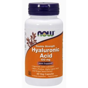 ヒアルロン酸カプセル 100mg (プロリン、アルファリポ酸、ブドウ種子エキス含有) 60粒 NOW ヒアルロン酸