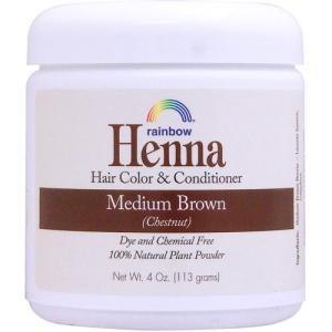 ヘナ ヘアカラー&コンディショナー ミディアムブラウン  白髪染め 栗色  113g