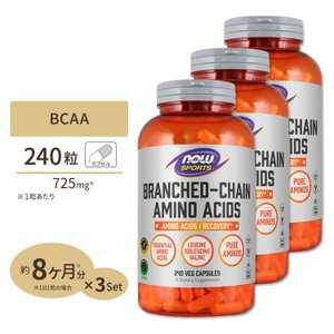 BCAA 240粒 3個セット NOW Foods ナウフーズ supplefactory