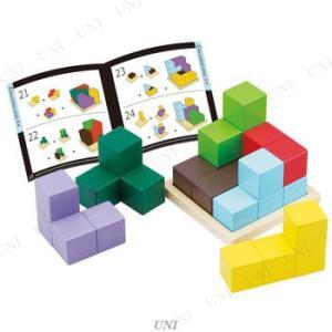 カラフルな7つのブロックで木製プレートの上に立方体を組み立てます。56種類の作品例を掲載したテキスト...
