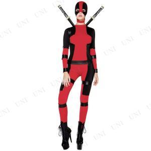 ブラック/レッドカラーの忍者のような女性用コスチューム。ボディスーツ、マスク、ハーネスのセットです。...