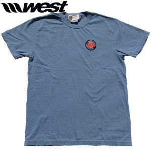 WEST ウエスト 2021クラシックエンブレム(刺繍ワッペン)後染めTシャツ   (Blue Jean)  ウエストスーツ|surf-alphas