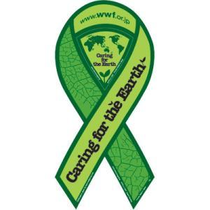 サーフィン リボンマグネット 寄付 募金/WWFジャパン リボンマグネット (グリーン) surfer