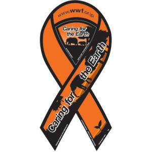 サーフィン リボンマグネット 寄付 募金/WWFジャパン リボンマグネット (オレンジ) surfer