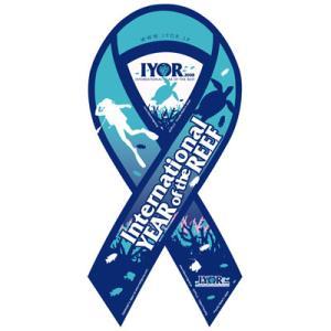 サーフィン リボンマグネット 寄付 募金/国際サンゴ礁年 リボンマグネット surfer