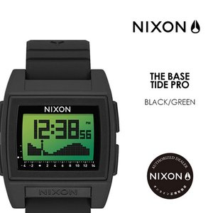 送料無料 NIXON ニクソン 腕時計 正規取扱店 ベース タイド プロ サーフィン 潮見表●THE BASE TIDE PRO A1212-3327-00 BLACK/GREEN|surfer