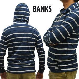 値下げしました!BANKS/バンクス RETROSPECT TRANSSEASONAL FLEECE INSIGNIA BLUE メンズ L/S フード付きスウェット [返品、交換及びキャンセル不可]|surfingworld