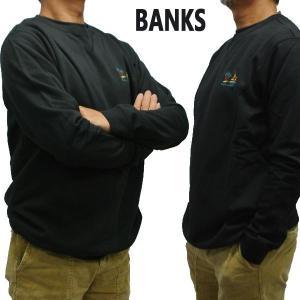 値下げしました!BANKS/バンクス BAHAMAS GRAPHIC FLEECE DIRTY BLACK メンズ L/S 長袖 トレーナー スウェット 刺繍 [返品、交換及びキャンセル不可]|surfingworld