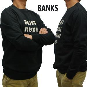 BANKS/バンクス HEMISPHERE FLEECE DIRTY BLACK メンズ L/S 長袖 トレーナー スウェット ロゴプリント [返品、交換及びキャンセル不可]|surfingworld