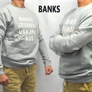 BANKS/バンクス HEMISPHERE FLEECE HEATHER GREY メンズ L/S 長袖 トレーナー スウェット ロゴプリント [返品、交換及びキャンセル不可]|surfingworld