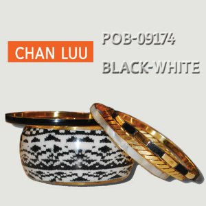 CHANLUU/チャンルーBLACK-WHITE BANGLE 5SET /白黒柄バングル5個セット POB-09174|surfingworld