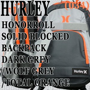 HURLEY/ハーレー HONOR ROLL SOLID BLOCKED BACKPACK DGRY/WGRY/TORG バックパック リュック|surfingworld