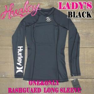 HURLEY/ハーレー レディース 長袖ラッシュガード ONE&ONLY L/S RASHGUARD BLACK 女性用 LADYS WOMEN サーフィン AJ2649|surfingworld