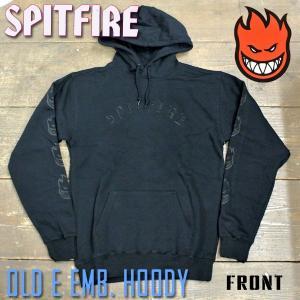 SPITFIRE/スピットファイア OLD E EMB.HOODY PULLOVER BLACK/BLACK 長袖 フード付き プルオーバー スピットファイヤー スウェット パーカー|surfingworld